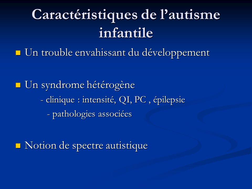 Caractéristiques de lautisme infantile Un trouble envahissant du développement Un trouble envahissant du développement Un syndrome hétérogène Un syndr