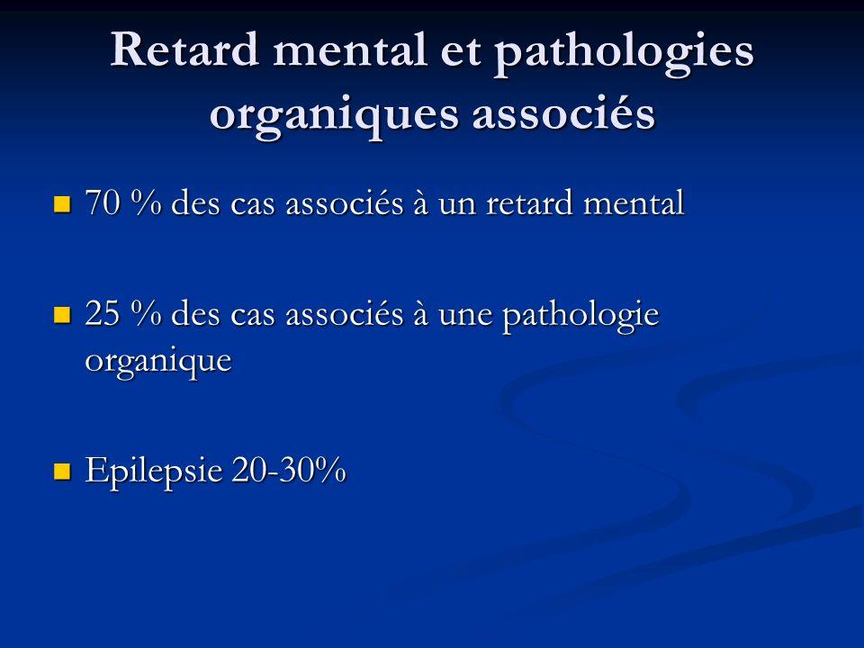 Retard mental et pathologies organiques associés 70 % des cas associés à un retard mental 70 % des cas associés à un retard mental 25 % des cas associ