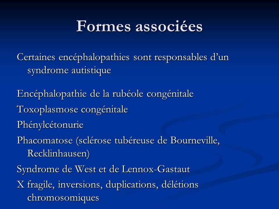 Formes associées Certaines encéphalopathies sont responsables dun syndrome autistique Encéphalopathie de la rubéole congénitale Toxoplasmose congénita