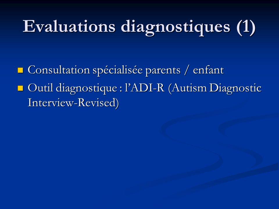 Evaluations diagnostiques (1) Consultation spécialisée parents / enfant Consultation spécialisée parents / enfant Outil diagnostique : lADI-R (Autism