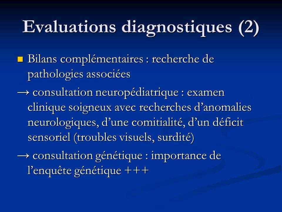 Evaluations diagnostiques (2) Bilans complémentaires : recherche de pathologies associées Bilans complémentaires : recherche de pathologies associées