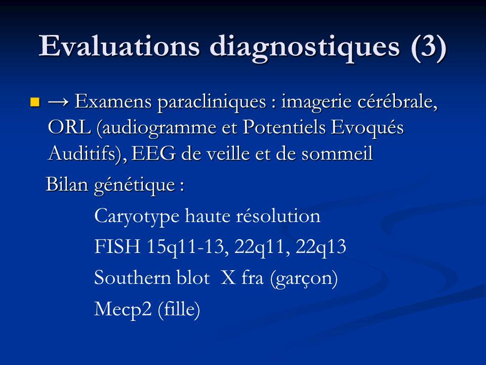 Evaluations diagnostiques (3) Examens paracliniques : imagerie cérébrale, ORL (audiogramme et Potentiels Evoqués Auditifs), EEG de veille et de sommei