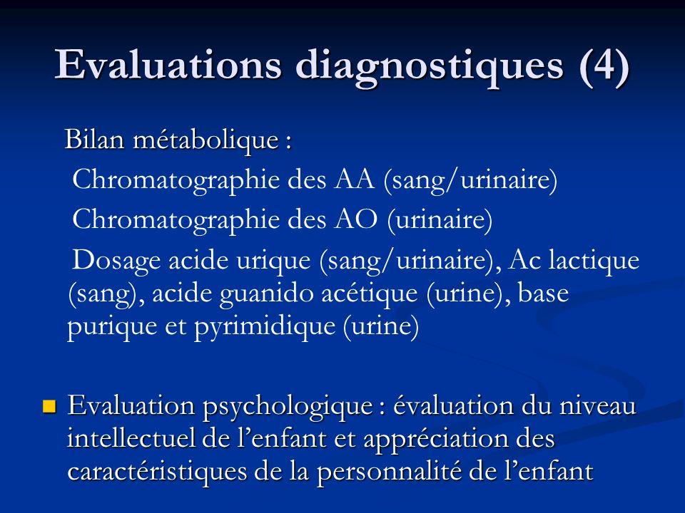 Evaluations diagnostiques (4) Bilan métabolique : Bilan métabolique : Chromatographie des AA (sang/urinaire) Chromatographie des AO (urinaire) Dosage