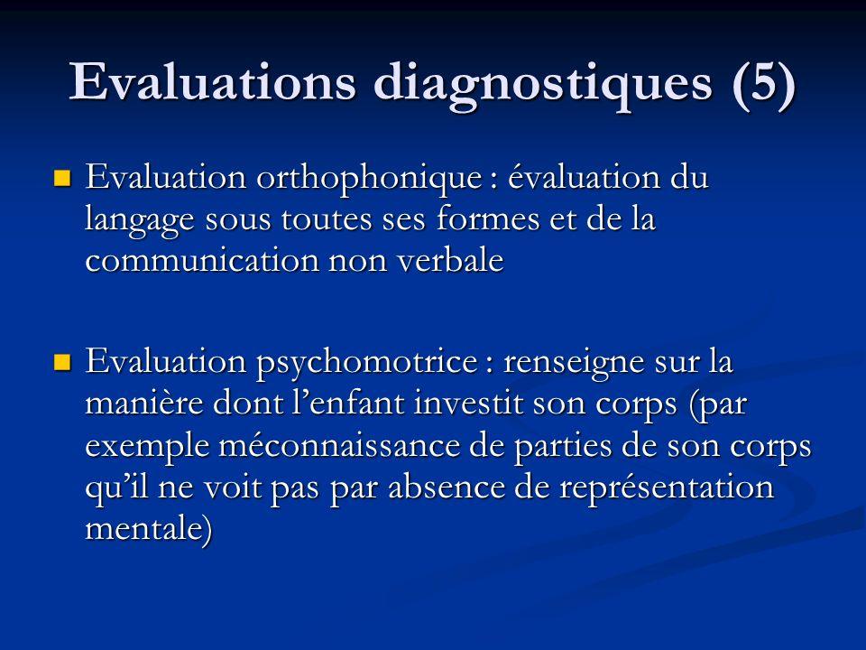 Evaluations diagnostiques (5) Evaluation orthophonique : évaluation du langage sous toutes ses formes et de la communication non verbale Evaluation or