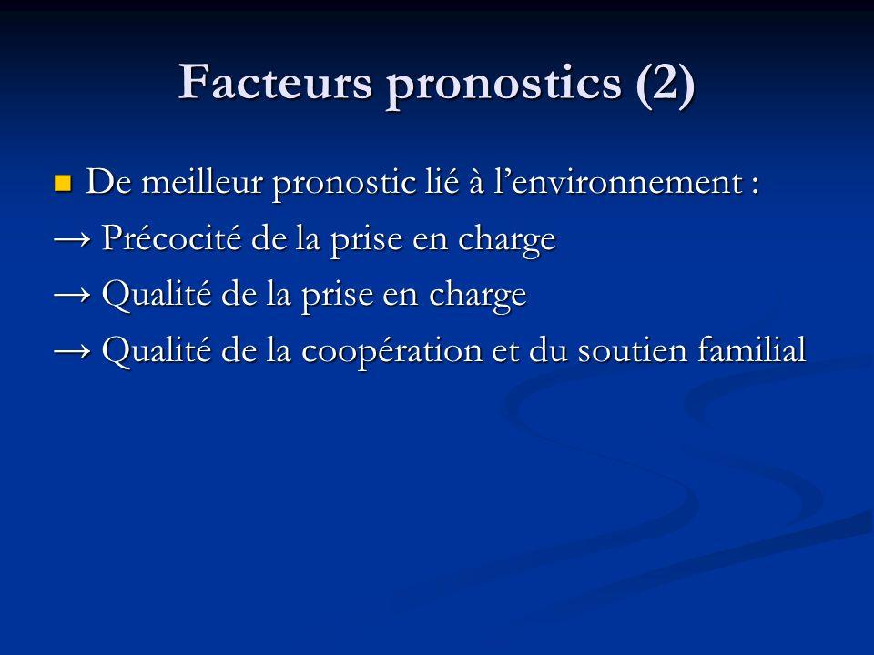 Facteurs pronostics (2) De meilleur pronostic lié à lenvironnement : De meilleur pronostic lié à lenvironnement : Précocité de la prise en charge Préc