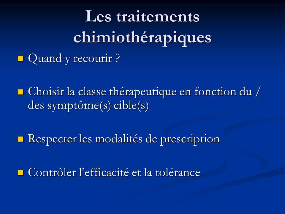 Les traitements chimiothérapiques Quand y recourir ? Quand y recourir ? Choisir la classe thérapeutique en fonction du / des symptôme(s) cible(s) Choi