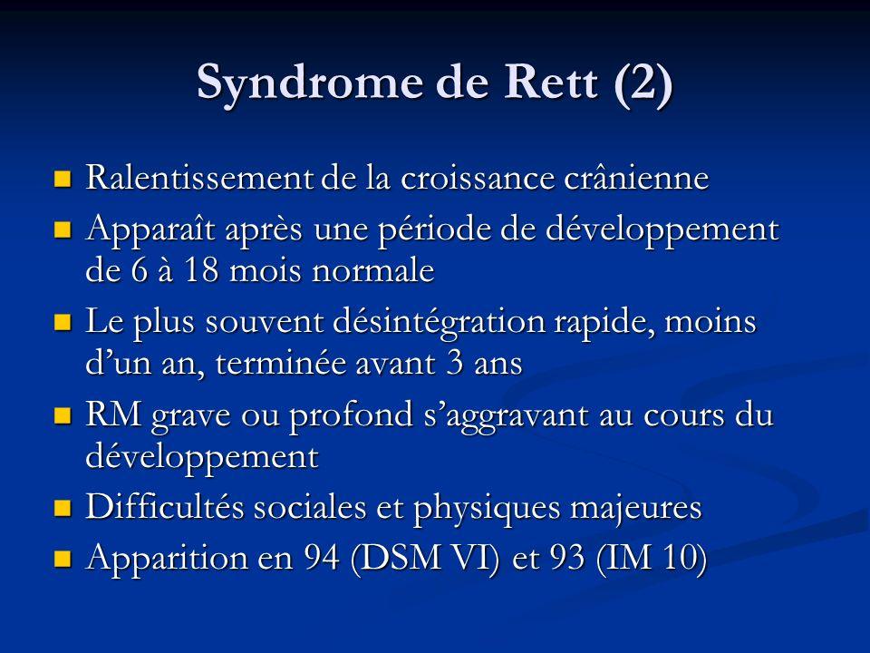 Syndrome de Rett (2) Ralentissement de la croissance crânienne Ralentissement de la croissance crânienne Apparaît après une période de développement d