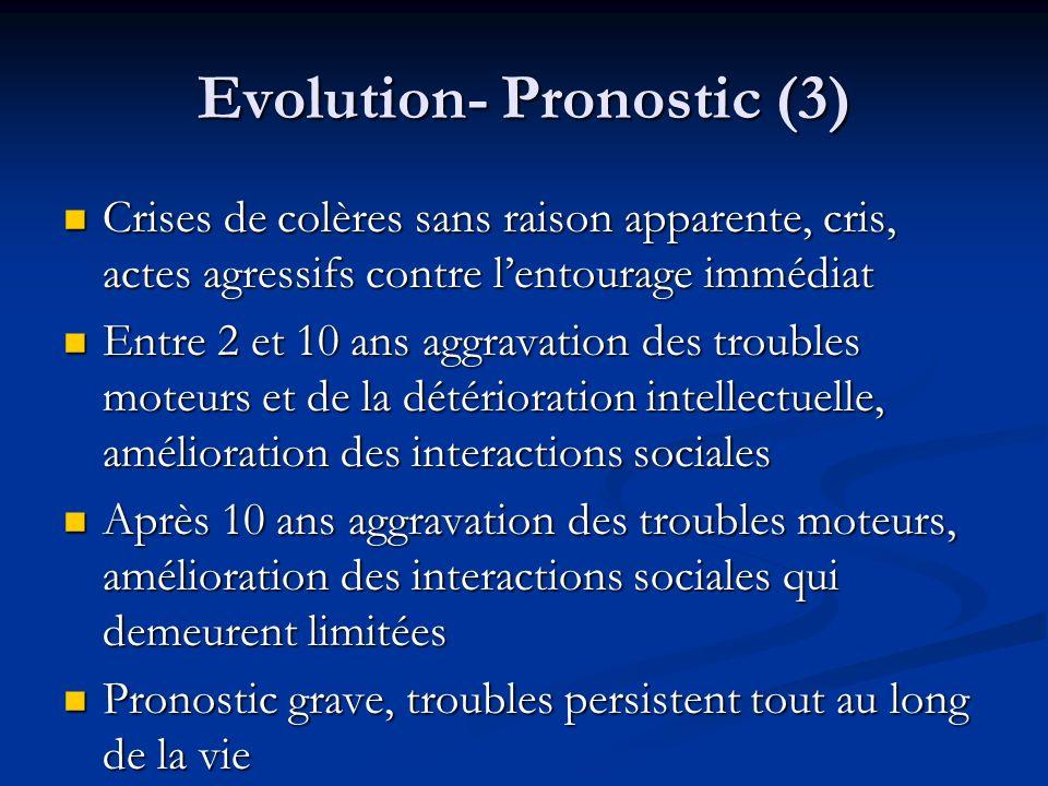 Evolution- Pronostic (3) Crises de colères sans raison apparente, cris, actes agressifs contre lentourage immédiat Crises de colères sans raison appar