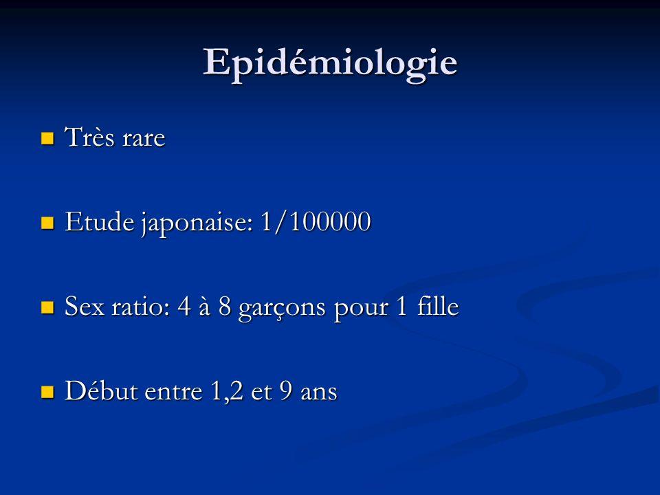 Epidémiologie Très rare Très rare Etude japonaise: 1/100000 Etude japonaise: 1/100000 Sex ratio: 4 à 8 garçons pour 1 fille Sex ratio: 4 à 8 garçons p