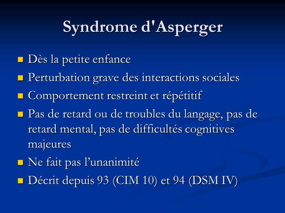 Syndrome d'Asperger Dès la petite enfance Dès la petite enfance Perturbation grave des interactions sociales Perturbation grave des interactions socia
