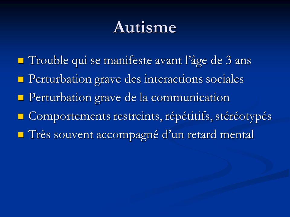 Autisme Trouble qui se manifeste avant lâge de 3 ans Trouble qui se manifeste avant lâge de 3 ans Perturbation grave des interactions sociales Perturb