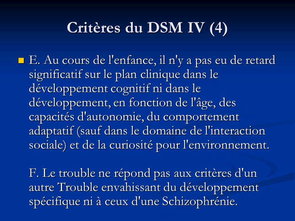 Critères du DSM IV (4) E. Au cours de l'enfance, il n'y a pas eu de retard significatif sur le plan clinique dans le développement cognitif ni dans le
