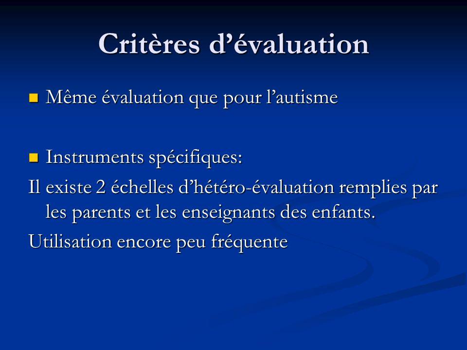 Critères dévaluation Même évaluation que pour lautisme Même évaluation que pour lautisme Instruments spécifiques: Instruments spécifiques: Il existe 2