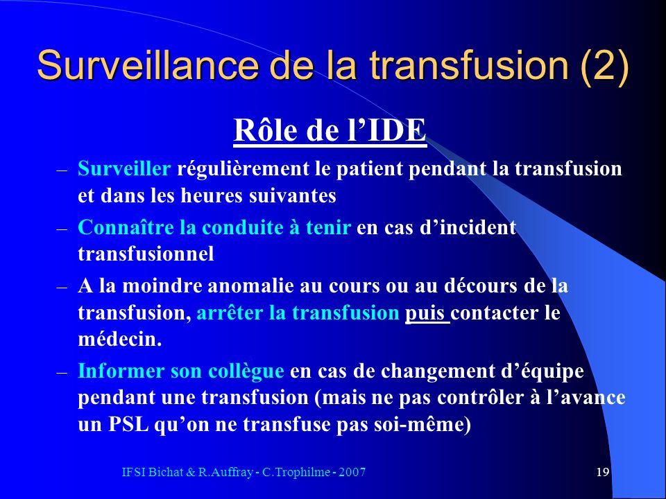 IFSI Bichat & R.Auffray - C.Trophilme - 200719 Surveillance de la transfusion (2) Rôle de lIDE – Surveiller régulièrement le patient pendant la transf