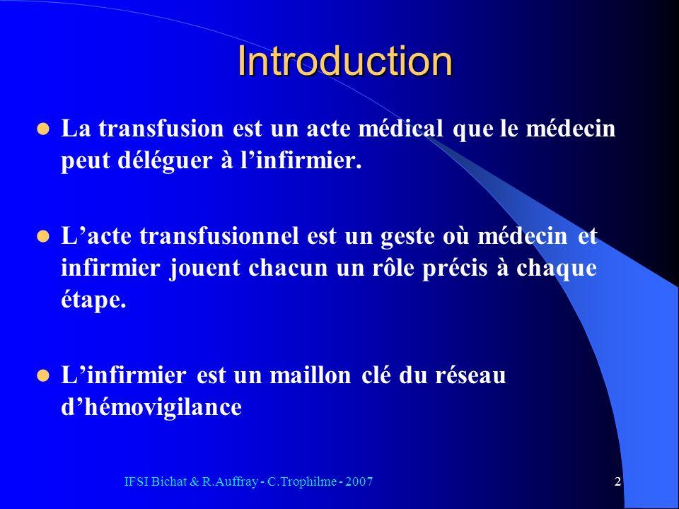 IFSI Bichat & R.Auffray - C.Trophilme - 20072 Introduction La transfusion est un acte médical que le médecin peut déléguer à linfirmier. Lacte transfu