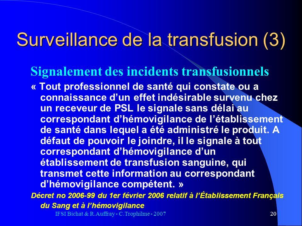 IFSI Bichat & R.Auffray - C.Trophilme - 200720 Signalement des incidents transfusionnels « Tout professionnel de santé qui constate ou a connaissance