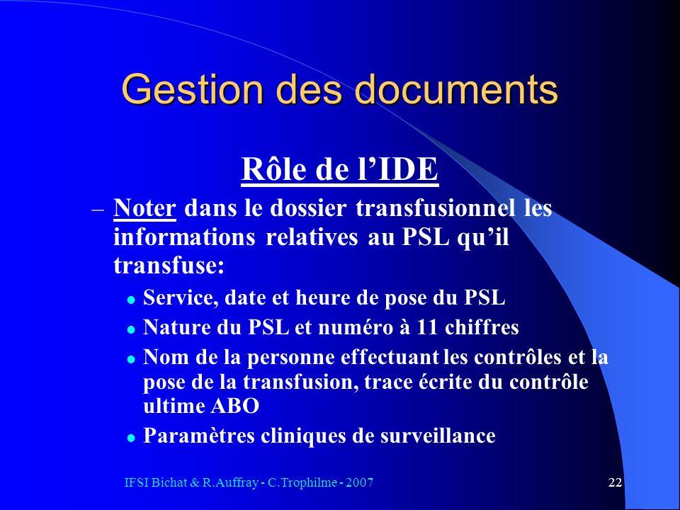IFSI Bichat & R.Auffray - C.Trophilme - 200722 Rôle de lIDE – Noter dans le dossier transfusionnel les informations relatives au PSL quil transfuse: S