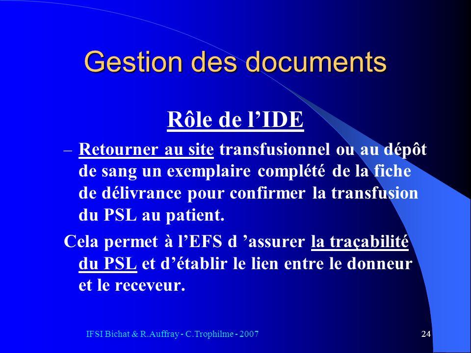 IFSI Bichat & R.Auffray - C.Trophilme - 200724 Rôle de lIDE – Retourner au site transfusionnel ou au dépôt de sang un exemplaire complété de la fiche de délivrance pour confirmer la transfusion du PSL au patient.
