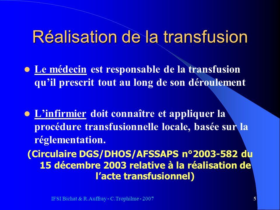 IFSI Bichat & R.Auffray - C.Trophilme - 20075 Réalisation de la transfusion Le médecin est responsable de la transfusion quil prescrit tout au long de