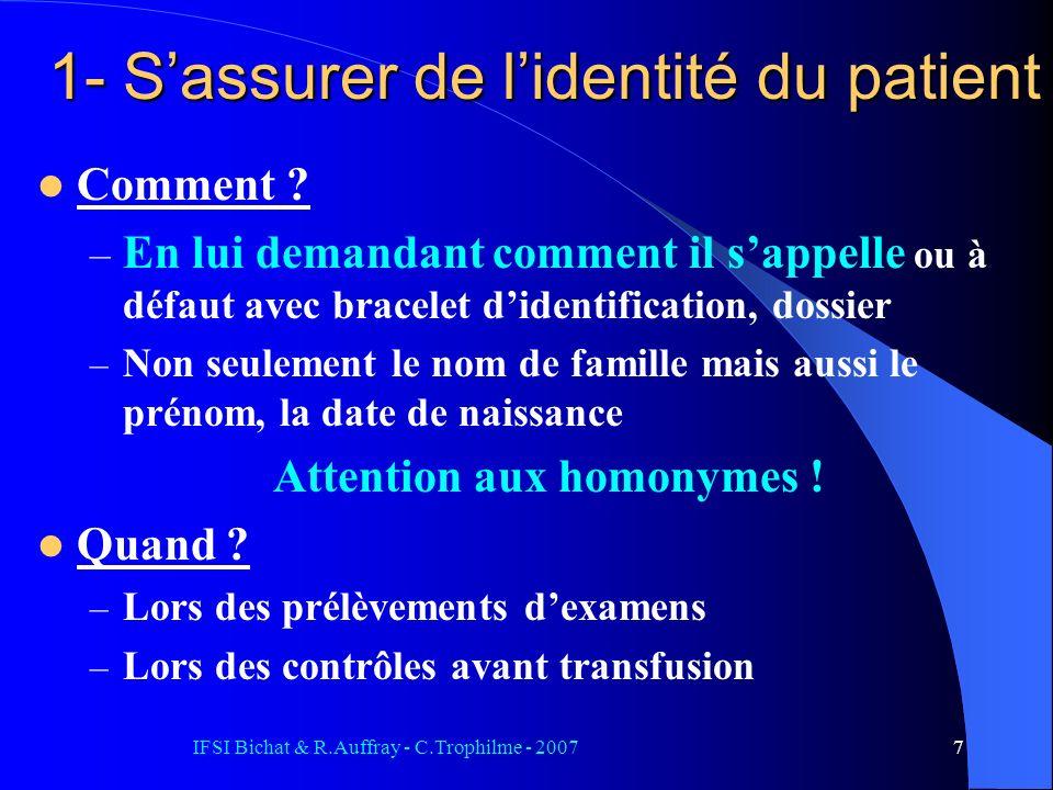 IFSI Bichat & R.Auffray - C.Trophilme - 20077 1- Sassurer de lidentité du patient Comment ? – En lui demandant comment il sappelle ou à défaut avec br