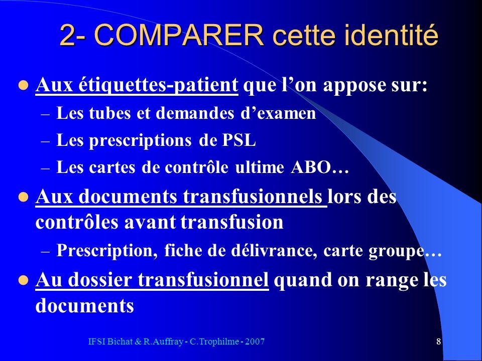 IFSI Bichat & R.Auffray - C.Trophilme - 20078 2- COMPARER cette identité Aux étiquettes-patient que lon appose sur: – Les tubes et demandes dexamen –