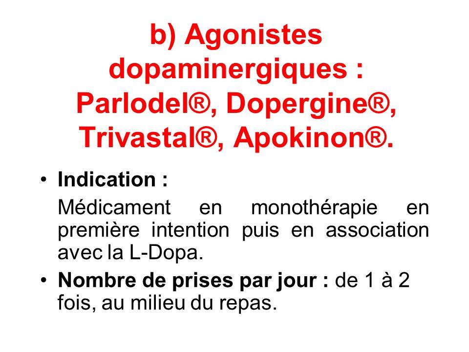b) Agonistes dopaminergiques : Parlodel®, Dopergine®, Trivastal®, Apokinon®. Indication : Médicament en monothérapie en première intention puis en ass