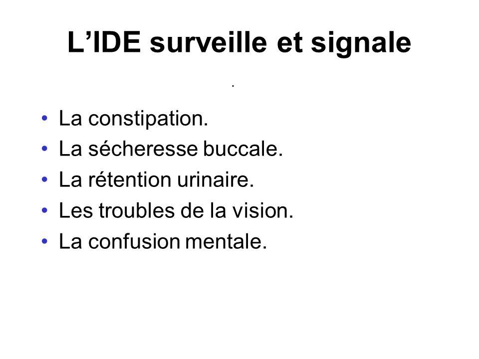 . LIDE surveille et signale La constipation. La sécheresse buccale. La rétention urinaire. Les troubles de la vision. La confusion mentale.