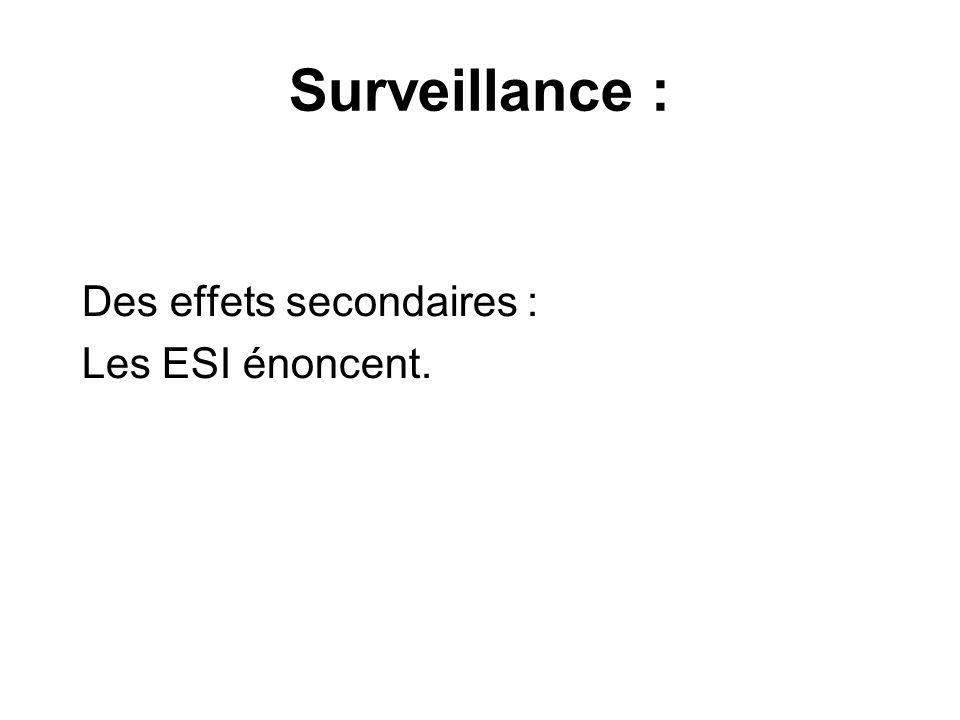 Surveillance : Des effets secondaires : Les ESI énoncent.