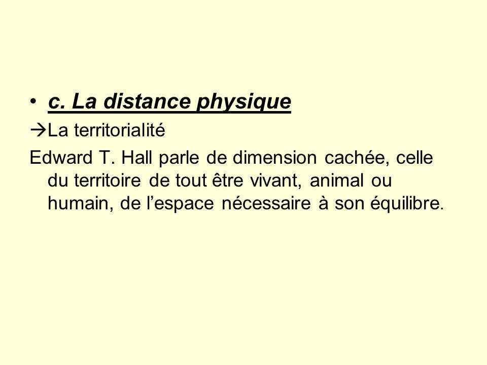 Les distances physiques Distance publique ou espace public Distance sociale ou espace social Distance personnelle ou espace personnel Distance intime ou espace intime