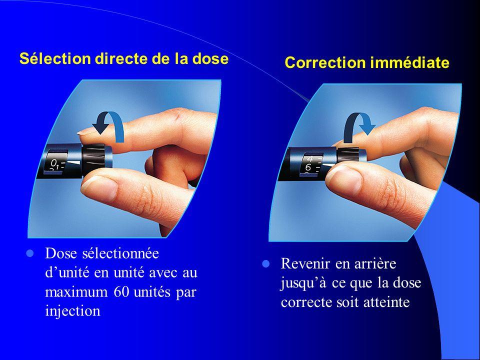 Revenir en arrière jusquà ce que la dose correcte soit atteinte Correction immédiate Sélection directe de la dose Dose sélectionnée dunité en unité av