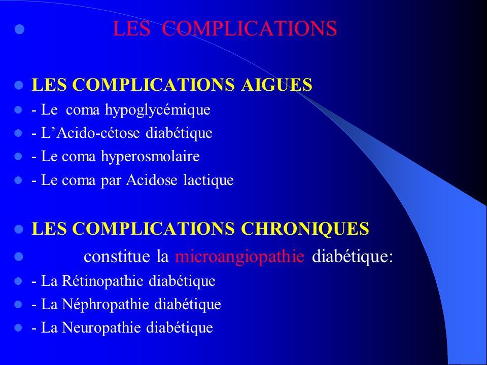 LES COMPLICATIONS LES COMPLICATIONS AIGUES - Le coma hypoglycémique - LAcido-cétose diabétique - Le coma hyperosmolaire - Le coma par Acidose lactique