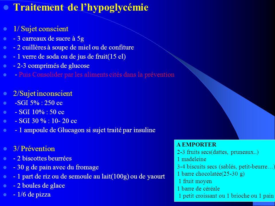 Traitement de lhypoglycémie 1/ Sujet conscient - 3 carreaux de sucre à 5g - 2 cuillères à soupe de miel ou de confiture - 1 verre de soda ou de jus de