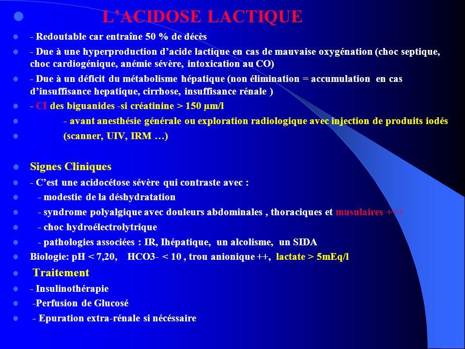 LACIDOSE LACTIQUE - Redoutable car entraîne 50 % de décès - Due à une hyperproduction dacide lactique en cas de mauvaise oxygénation (choc septique, c