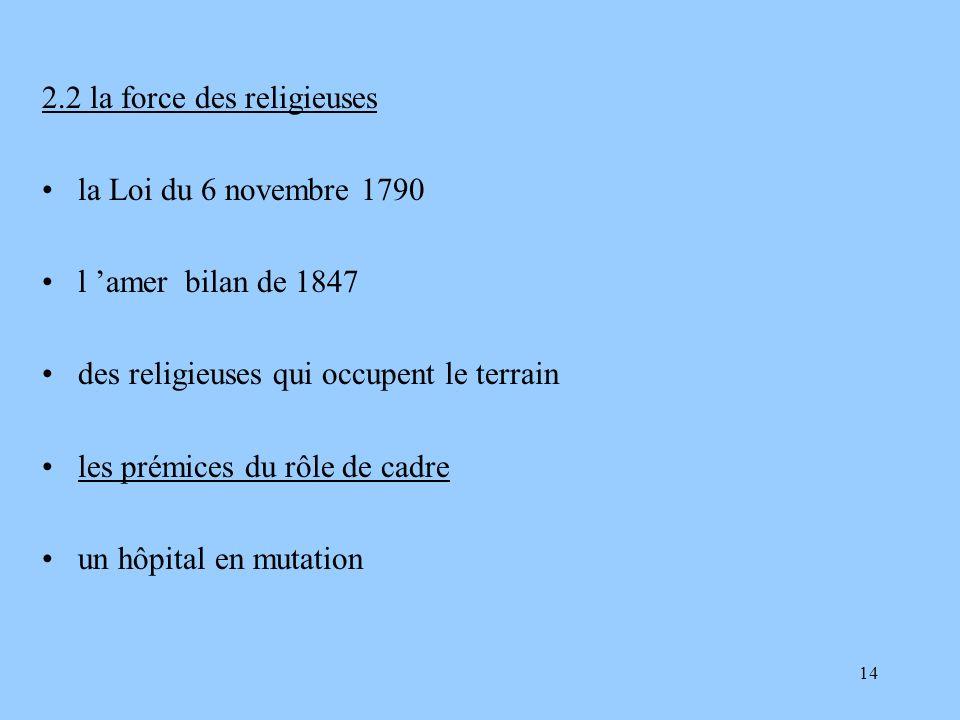 14 2.2 la force des religieuses la Loi du 6 novembre 1790 l amer bilan de 1847 des religieuses qui occupent le terrain les prémices du rôle de cadre u