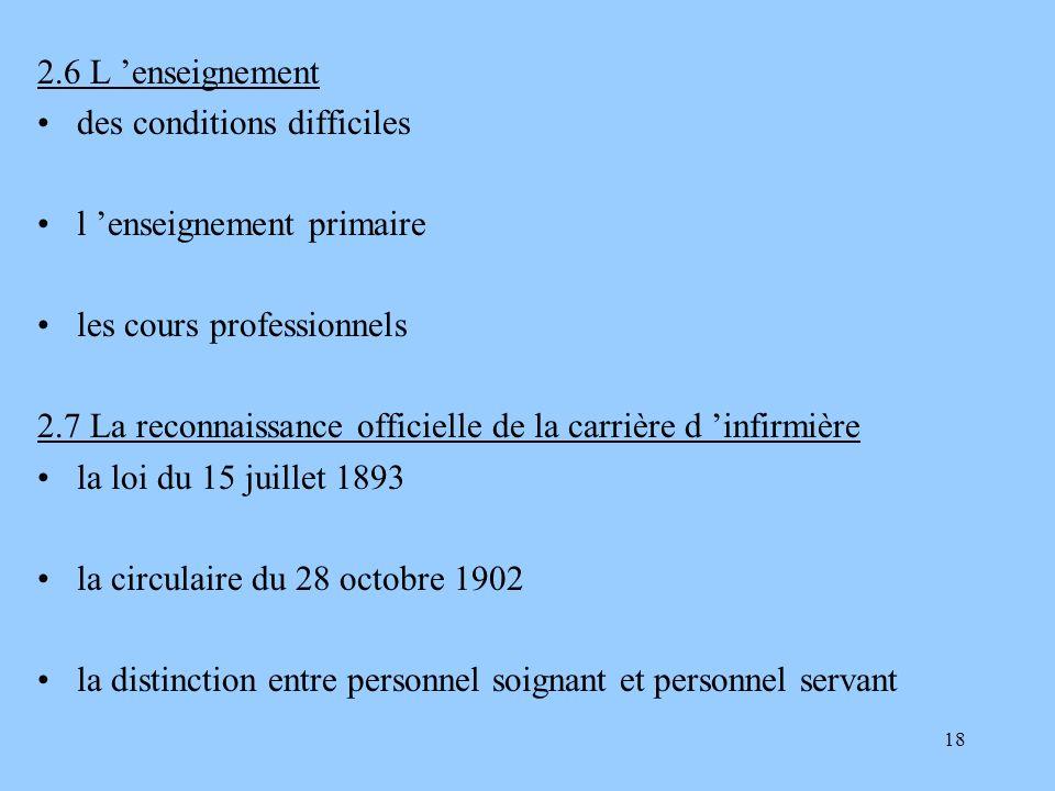 18 2.6 L enseignement des conditions difficiles l enseignement primaire les cours professionnels 2.7 La reconnaissance officielle de la carrière d inf