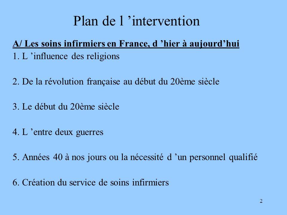 2 Plan de l intervention A/ Les soins infirmiers en France, d hier à aujourdhui 1. L influence des religions 2. De la révolution française au début du