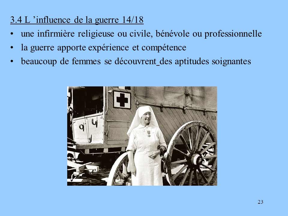 23 3.4 L influence de la guerre 14/18 une infirmière religieuse ou civile, bénévole ou professionnelle la guerre apporte expérience et compétence beau