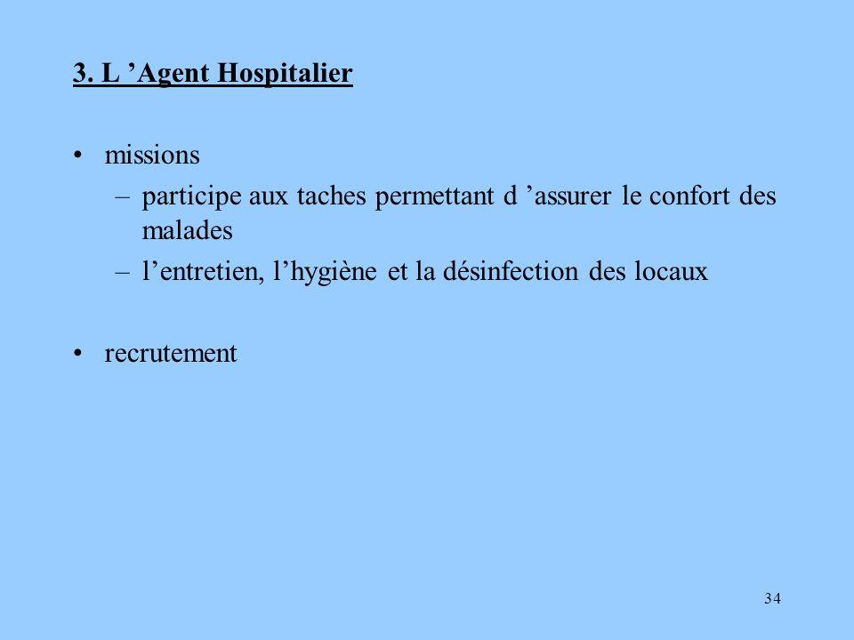 34 3. L Agent Hospitalier missions –participe aux taches permettant d assurer le confort des malades –lentretien, lhygiène et la désinfection des loca