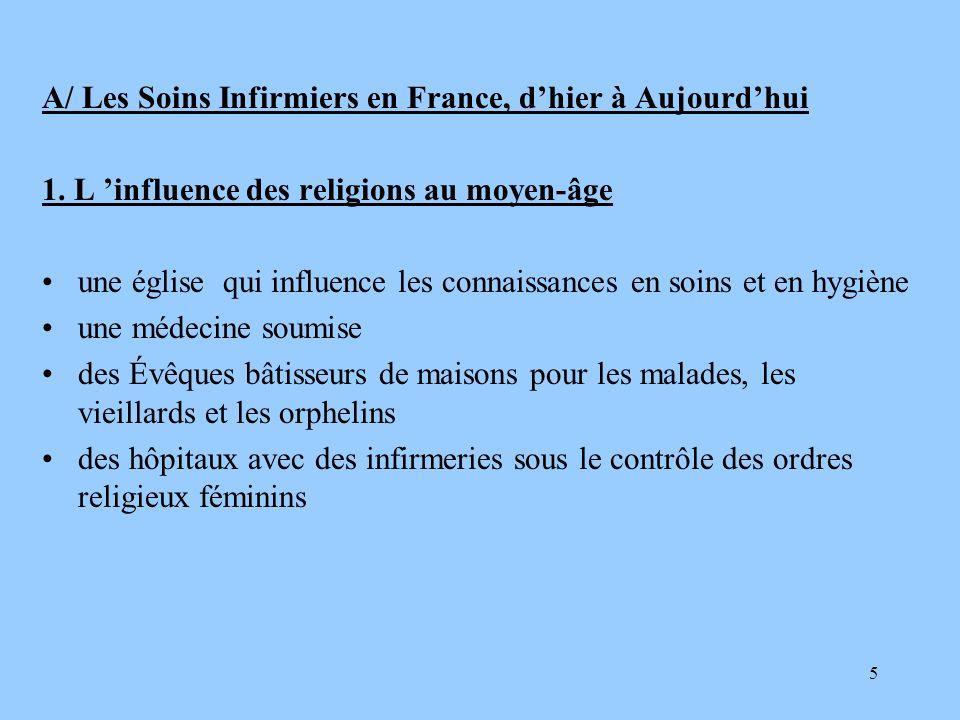 5 A/ Les Soins Infirmiers en France, dhier à Aujourdhui 1. L influence des religions au moyen-âge une église qui influence les connaissances en soins