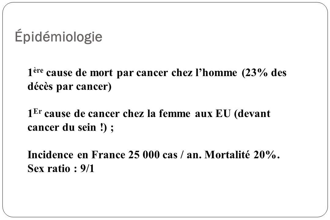 Classification TNM pour les CPNPC T0 TIS T1 T2 T3 T4 Absence de tumeur Carcinome in situ Tumeur < 3 cm entouré par du poumon ou plèvre viscérale sans invasion de la bronche lobaire Tumeur > 3 cm, envahissant plèvre viscérale ou associée à atélectasie, envahissement lobaire à plus de 2 cm de la carène Tumeur de toute taille avec extension directe à la paroi, diaphragme, péricarde, à < 2 cm de la carène sans lenvahir Tumeur de toute taille envahissant cœur, gros vaisseaux, trachée, carène, œsophage, vertèbre, pleurésie maligne prouvé N0 N1 N2 N3 Pas de ganglion envahis Ganglion péribronchique ou hilaire homolatéraux tumoraux Ganglions médiastinaux homolatéraux ou sous-carénaires tumoraux Ganglions hilaires ou médiastinaux controlatéraux, sus-claviculaires, scalènes tumoraux M0 M1 Absence de métastase à distance Présence de métastase à distance