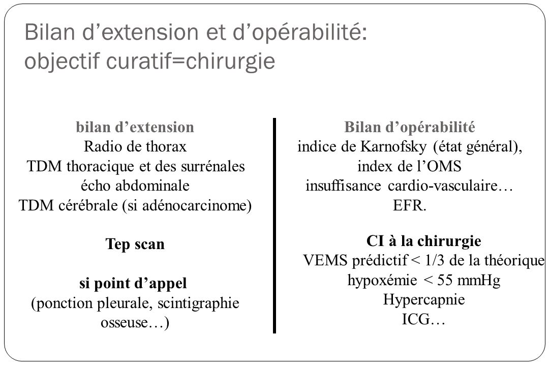 Bilan dextension et dopérabilité: objectif curatif=chirurgie bilan dextension Radio de thorax TDM thoracique et des surrénales écho abdominale TDM cér
