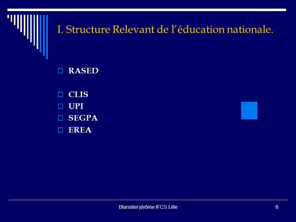 Blanstier jérôme IFCS Lille6 I.Structure Relevant de léducation nationale.