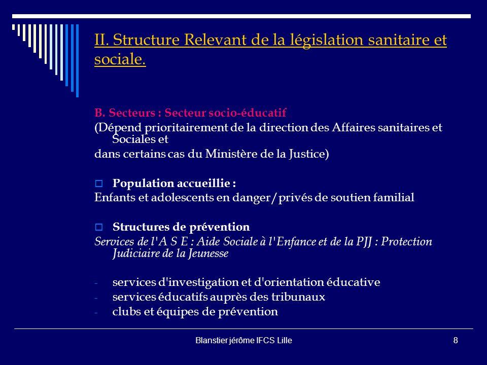 Blanstier jérôme IFCS Lille7 II.Structure Relevant de la législation sanitaire et sociale.