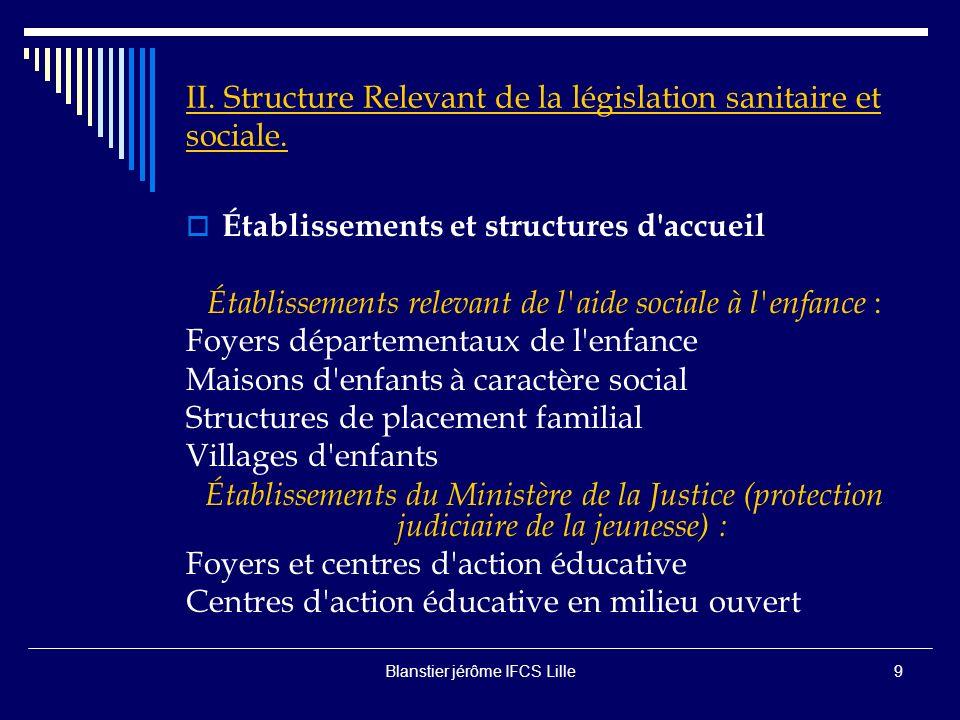 Blanstier jérôme IFCS Lille8 II.Structure Relevant de la législation sanitaire et sociale.