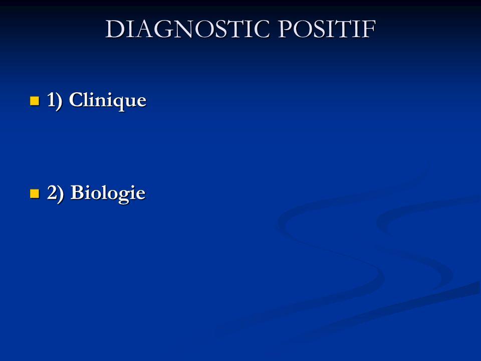 DIAGNOSTIC POSITIF 1) Clinique 1) Clinique 2) Biologie 2) Biologie