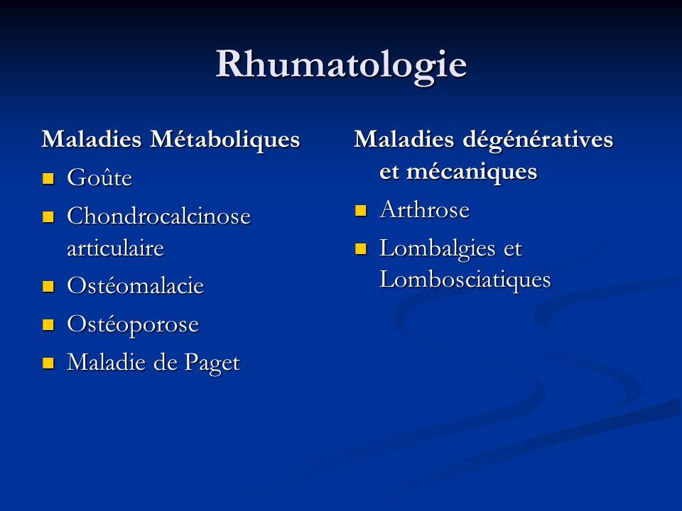 Rhumatologie Maladies Métaboliques Goûte Goûte Chondrocalcinose articulaire Chondrocalcinose articulaire Ostéomalacie Ostéomalacie Ostéoporose Ostéopo