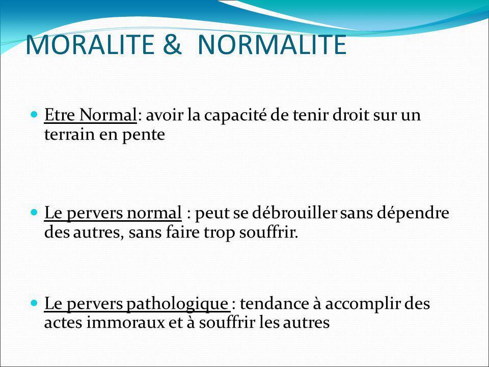 MORALITE & NORMALITE Etre Normal: avoir la capacité de tenir droit sur un terrain en pente Le pervers normal : peut se débrouiller sans dépendre des a