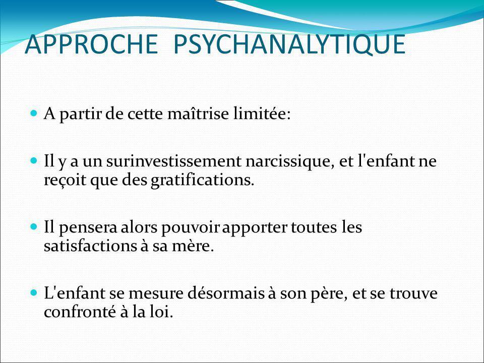 APPROCHE PSYCHANALYTIQUE A partir de cette maîtrise limitée: Il y a un surinvestissement narcissique, et l'enfant ne reçoit que des gratifications. Il