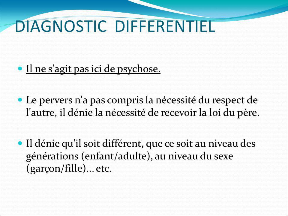 DIAGNOSTIC DIFFERENTIEL Il ne s agit pas ici de psychose.