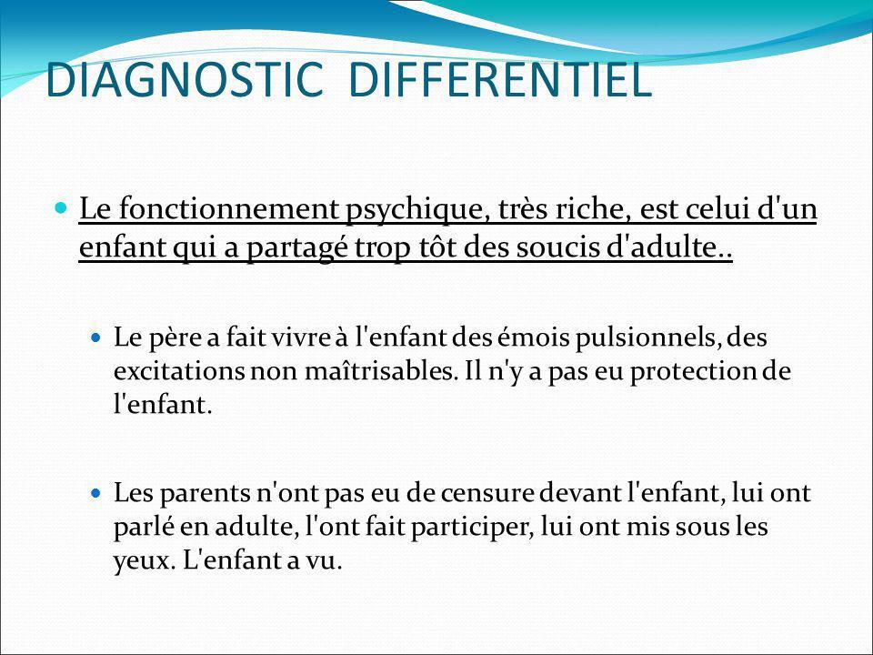 DIAGNOSTIC DIFFERENTIEL Le fonctionnement psychique, très riche, est celui d'un enfant qui a partagé trop tôt des soucis d'adulte.. Le père a fait viv